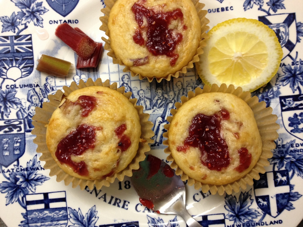Rhubarb Lemon Muffins with Raspberry Jam