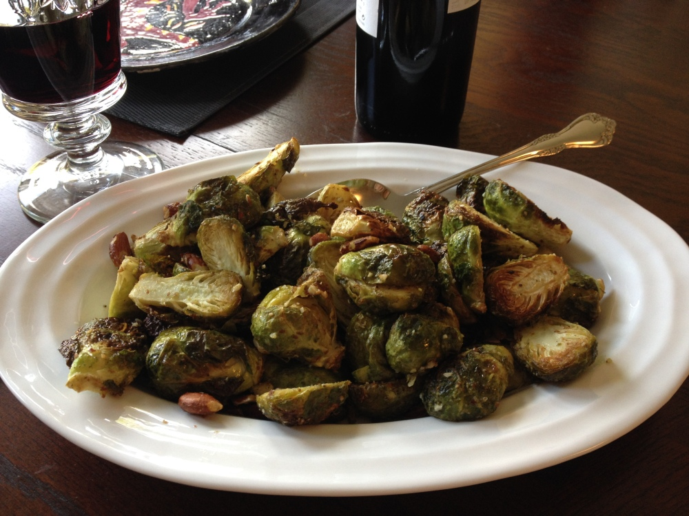 Roasted Oregano Brussels Sprouts with Almons