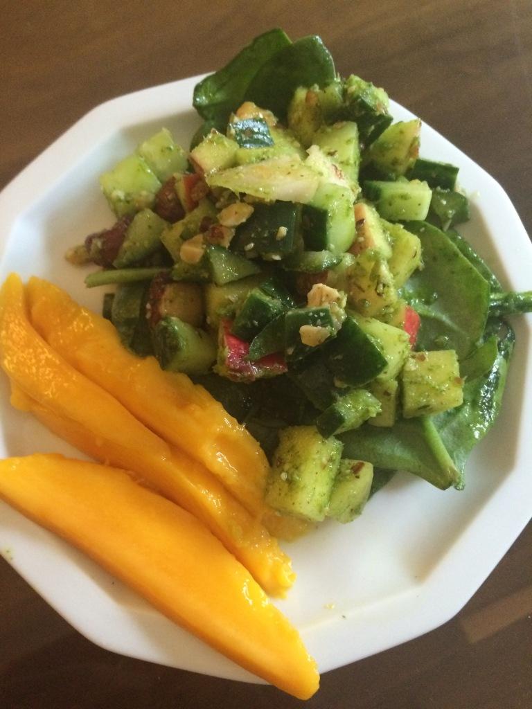 Apple Cucumber Salad with Mango and Roasted Hazelnuts