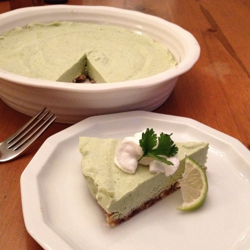 Lime Avocado Cheesecake with Cilantro