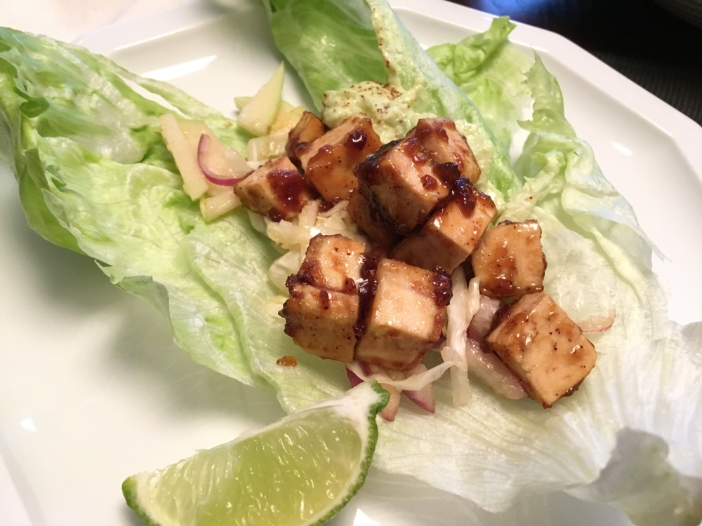 Spicy Tofu Wraps with Sweet Chayote Coleslaw