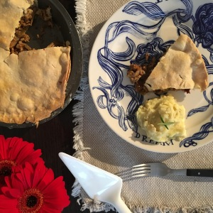 Vegan Meat Pie with Chanterelle Mushrooms and Field Roast Sausages