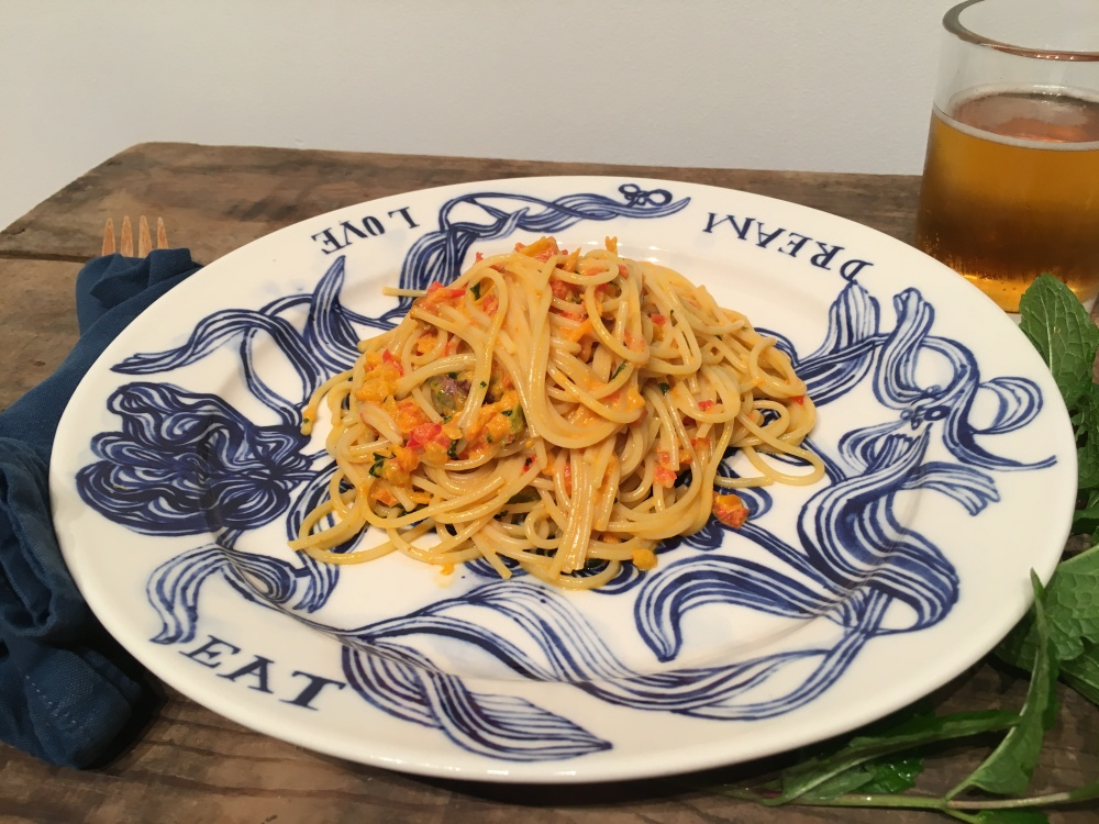 Vegan Mint Roasted Pepper Pasta with Pistachios