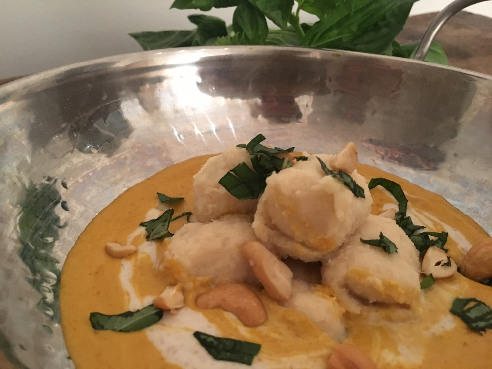 Sweet Potato Basil Gnocchi with Yellow Curry